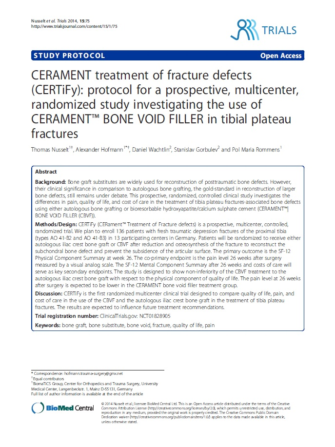 CERAMENT treatment of fracture defects (CERTiFy): protocol for a prospective, multicenter, randomized study investigating the use of CERAMENT® BONE VOID FILLER in tibial plateau fractures