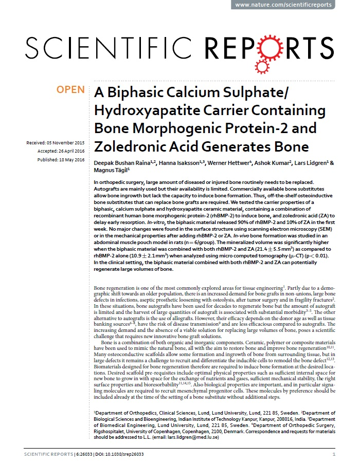 A biphasic calcium sulphate/hydroxyapatite carrier containing bone morphogenic protein-2 and zoledronic acid generates bone