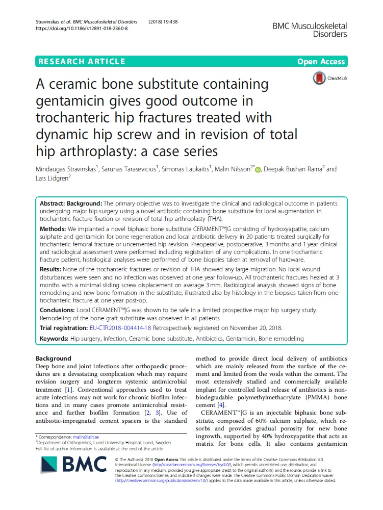 A ceramic bone substitute containing gentamicin gives good outcome in trochanteric hip fractures treated with dynamic hip screw and in revision of total hip arthroplasty: a case series